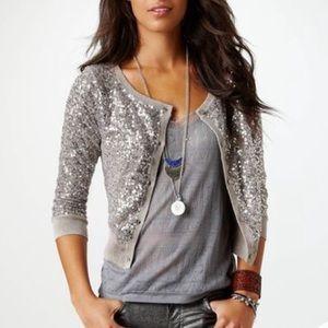 AEO Taupe Sequin Cardigan Sweater